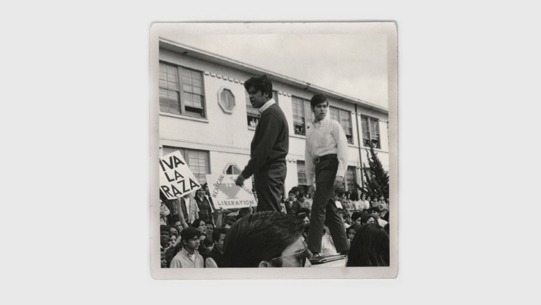 Protestors atop a vehicle during a 1968 rally in East L.A.