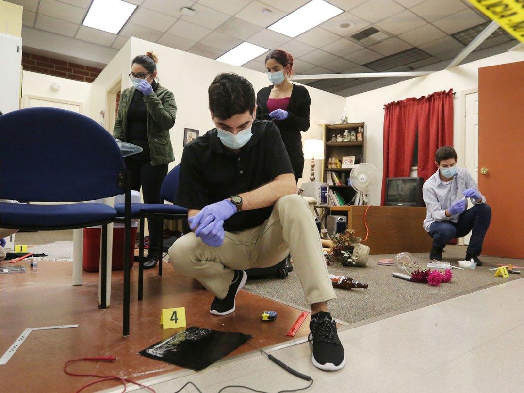 Criminalistics students stage a mock crime scene in the Hertzberg-Davis Forensic Science Center.