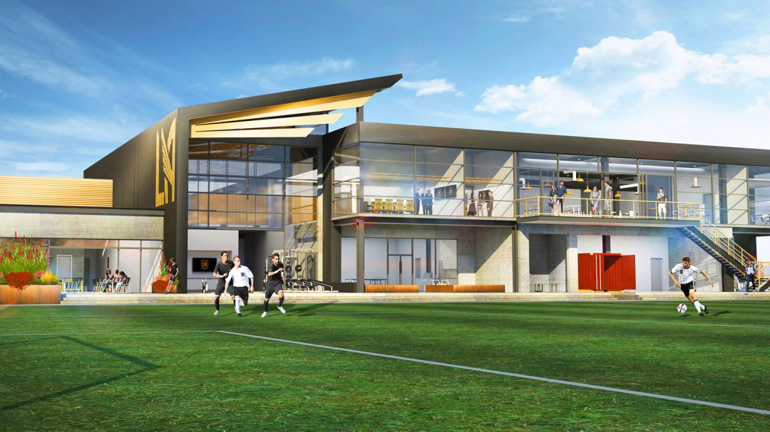 Rendering of the LAFC training facility on the Cal State LA campus.