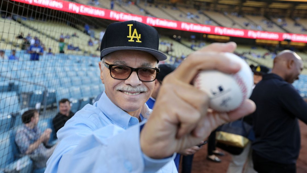 President William A. Covino after throwing out the first pitch at Dodger stadium for Cal State LA Night.