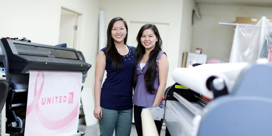 Lorraine (left) and Lillian Tsui in their Alhambra print shop.