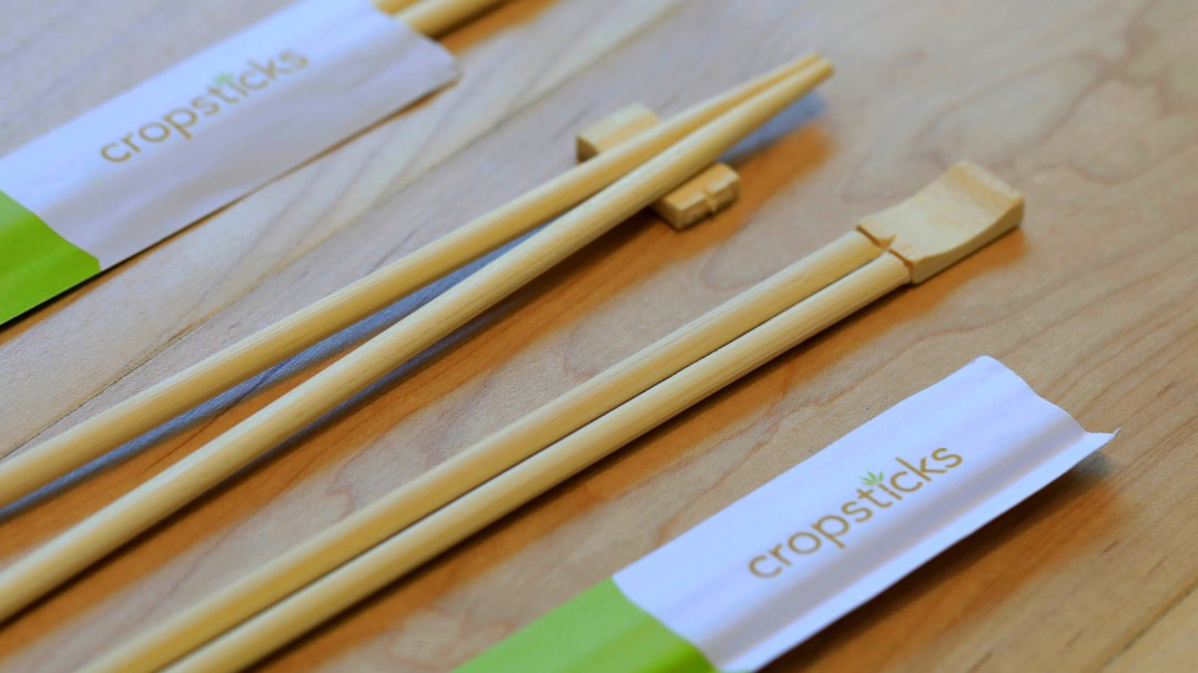 Cropsticks on a table.