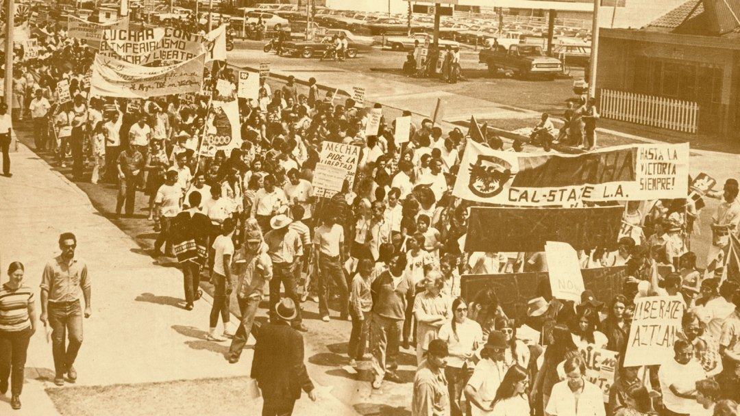 Cal State LA students during the Walkouts of the 1960s.
