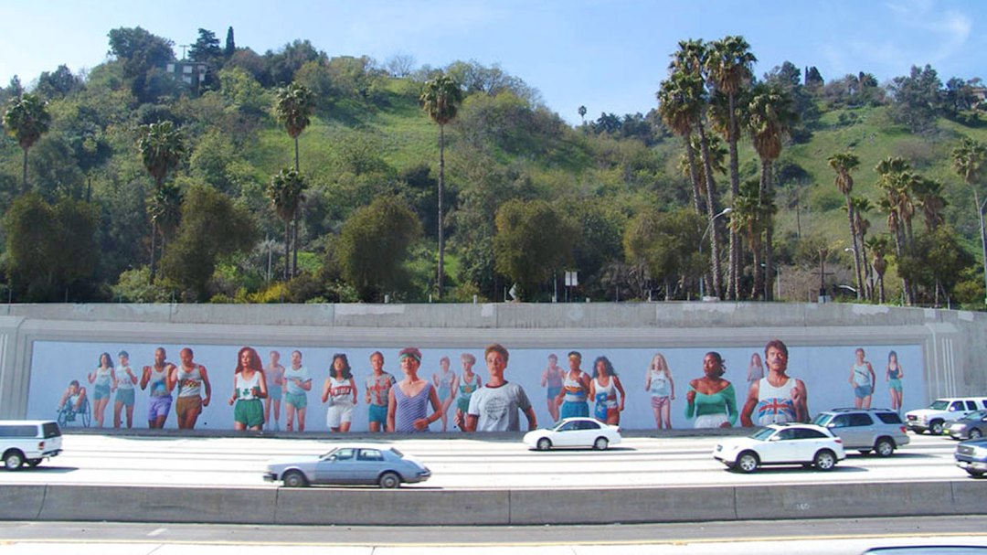 "Kent Twitchell ""Marathon"" mural on the 101 freeway"