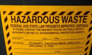 Label used to identify hazardous waste being stored as a LQG hazardous waste generator