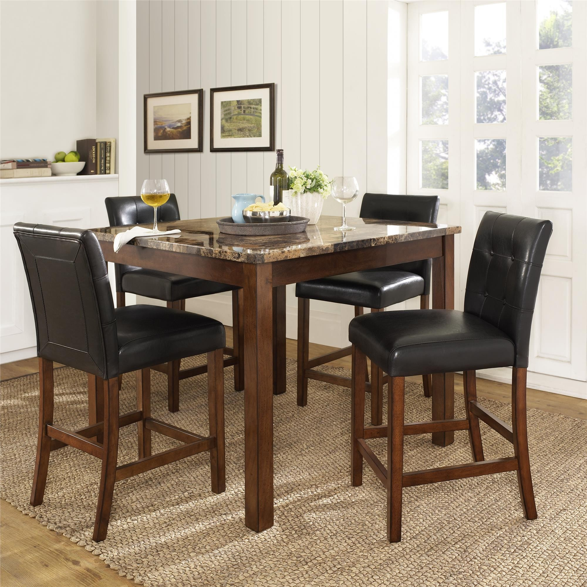 5pc Faux Marble Dining Table Set