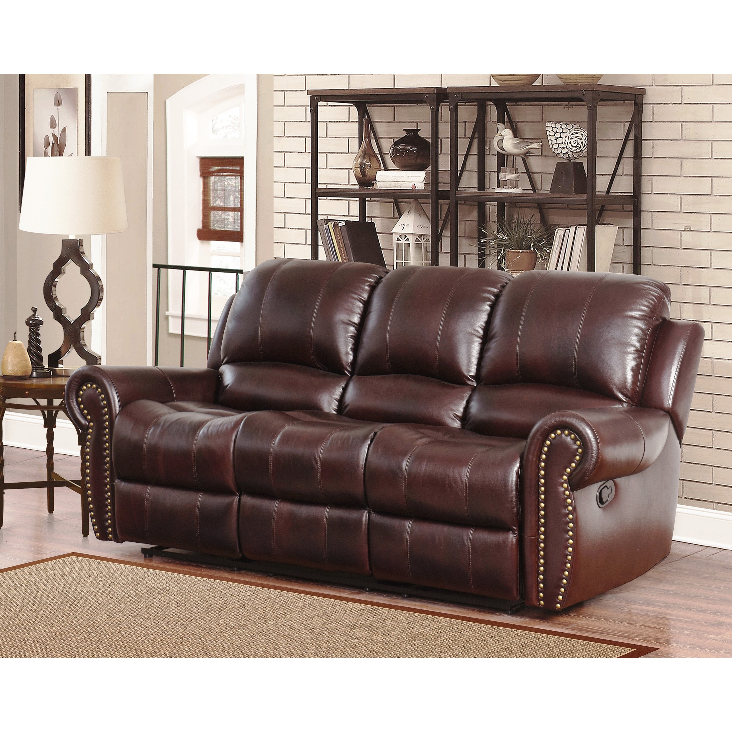 Distressed Leather Reclining Sofa