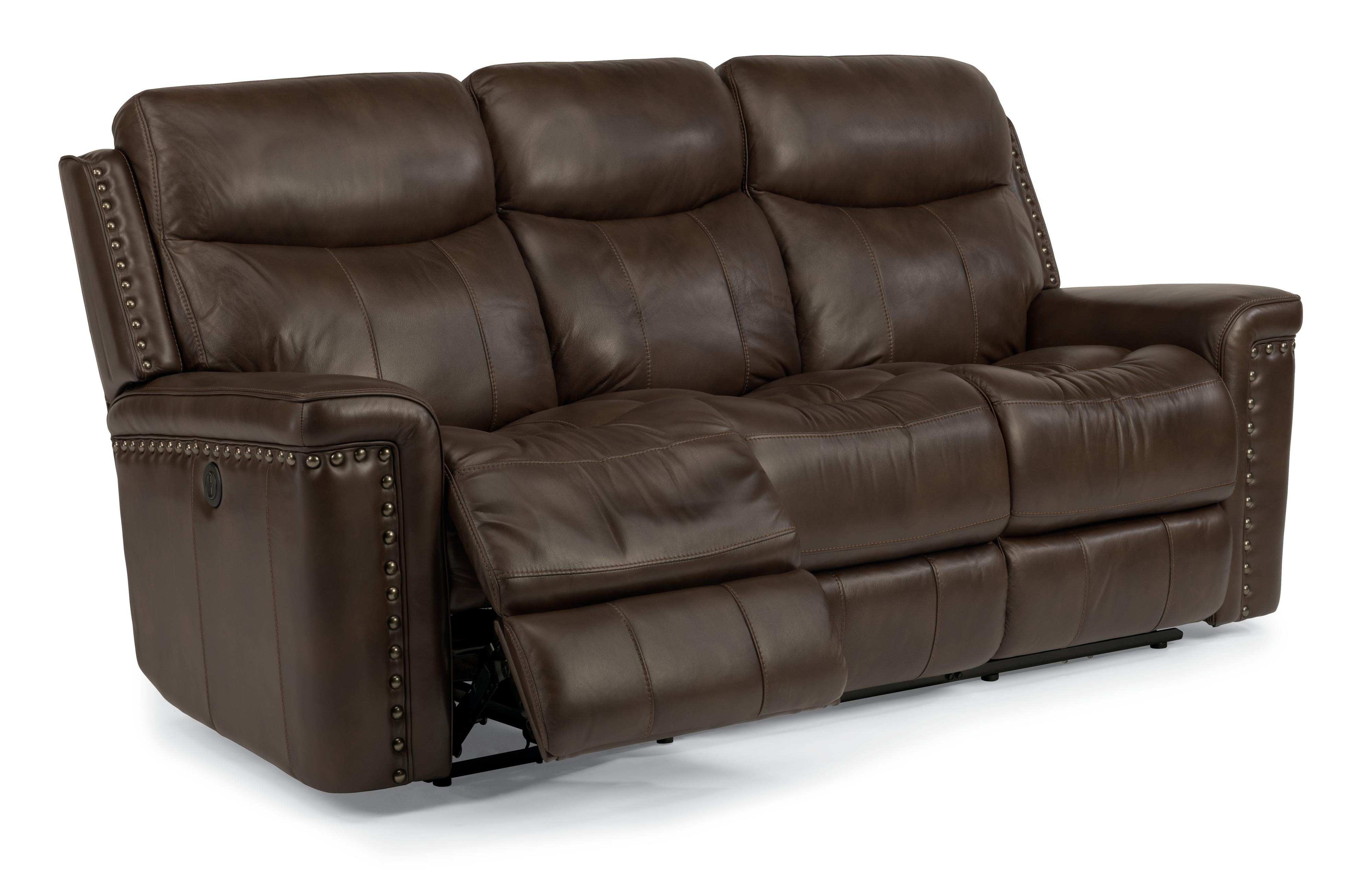 Leather Reclining Sofa With Nailhead Trim