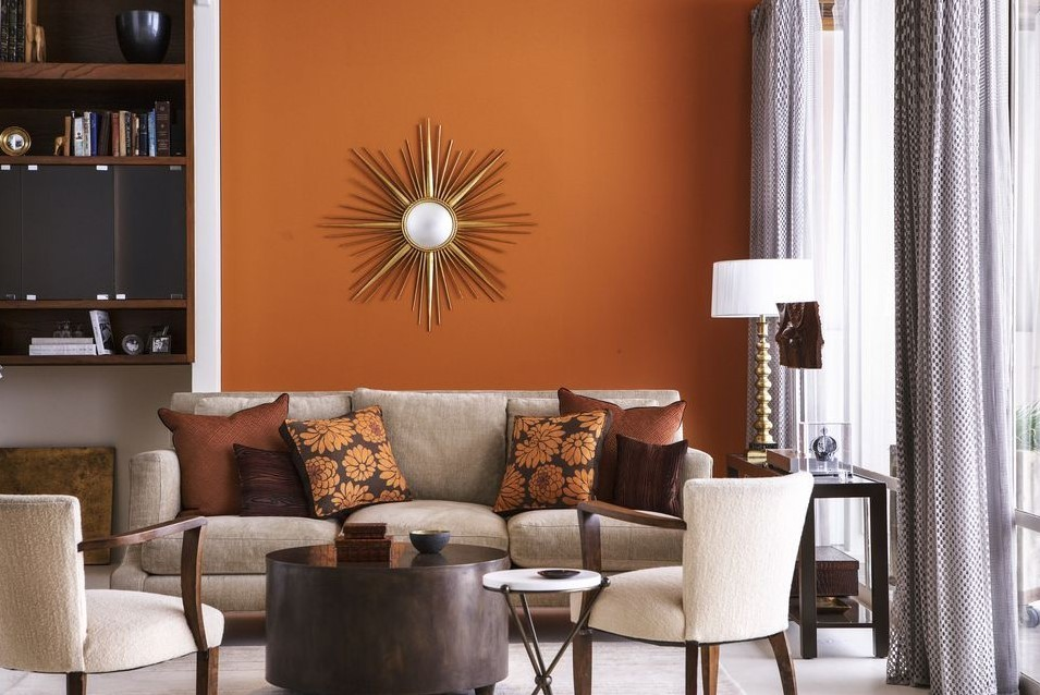 Living Room Accent Wall With Brown Furniture