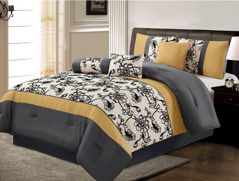 Gray And Yellow Bedding Sets