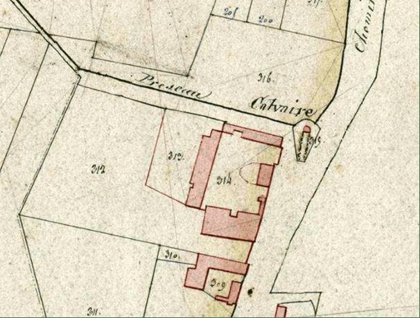 Cadastre 1828 P 31 / 740 section A 315 à l'intersection du chemin vicinal du Préseau et du chemin dit de Wult.