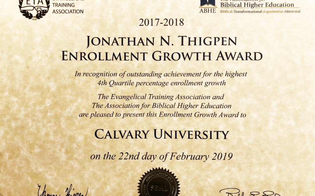 "Calvary University Reaches ""A Remarkable Milestone"" by Receiving Prestigious Enrollment Growth Award"