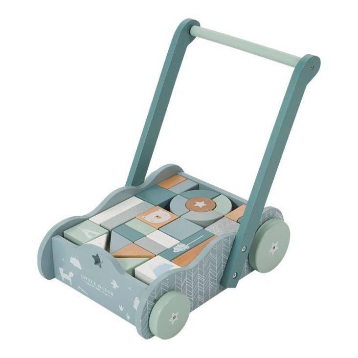 Wózek z klockami Błękitny Little Dutch