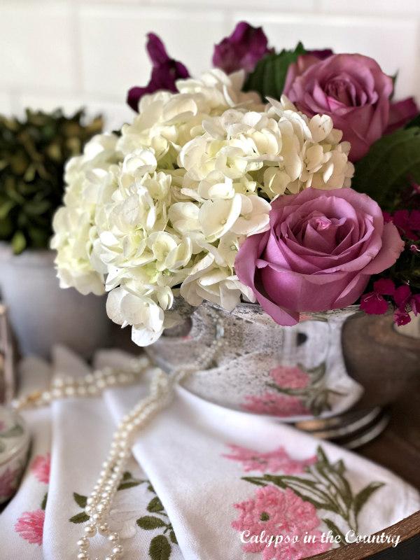 Vintage Valentine Vignette - silver bowl with flowers