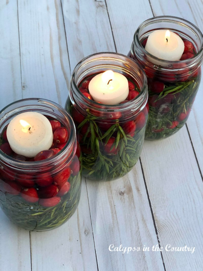 Mason jar luminaries with leftover cranberries