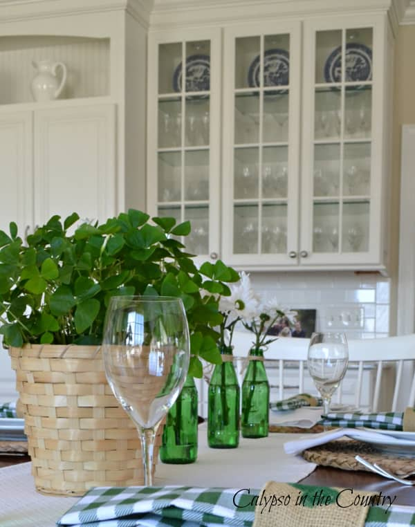 Green and White Accessories and Glass Cabinets - St. Patrick's Day Table Decor