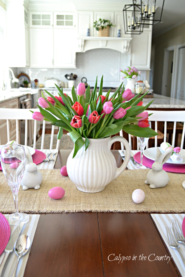 Pink Tulips in White Pitcher on Table - Spring is Here!