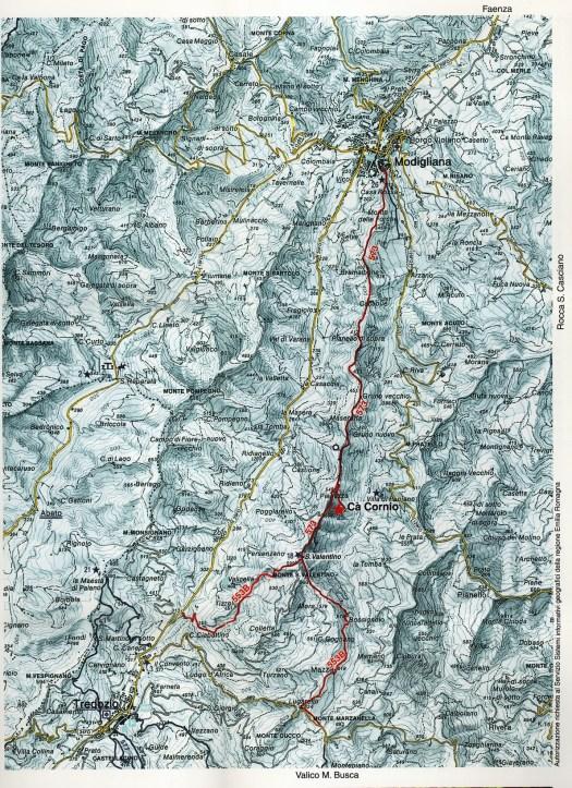 Mappa sentiero Corbari