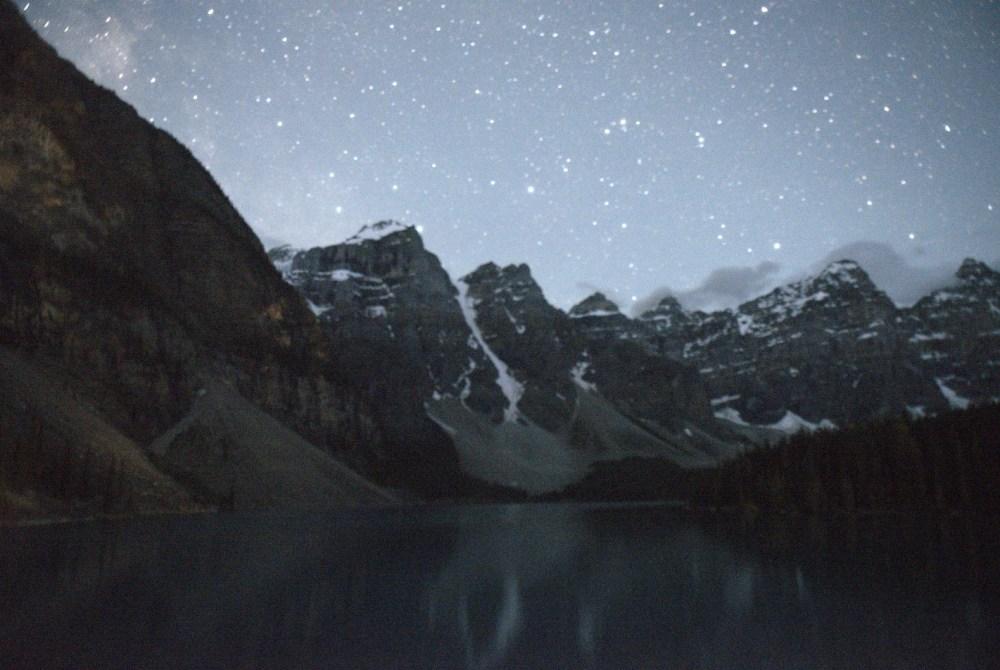 Summer Road Trip to Banff, Alberta - Night Sky Moraine Lake