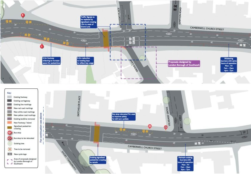 Map of proposed changes to Camberwell Church Street