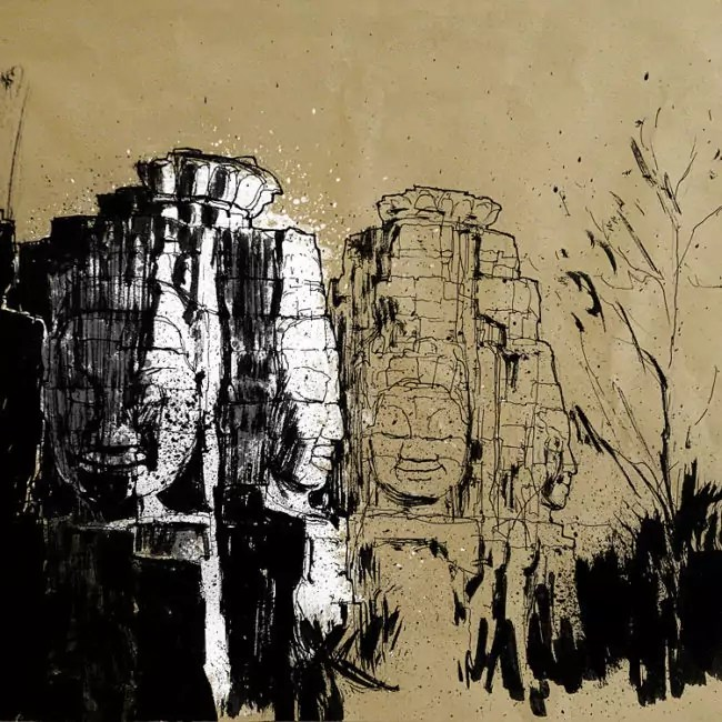 Blasco – Pen, Ink and Charcoal Drawings Of Angkor Wat 01