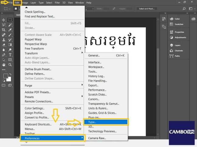 Changing Adobe Photoshop preference setting to make it support font Khmer-Unicode