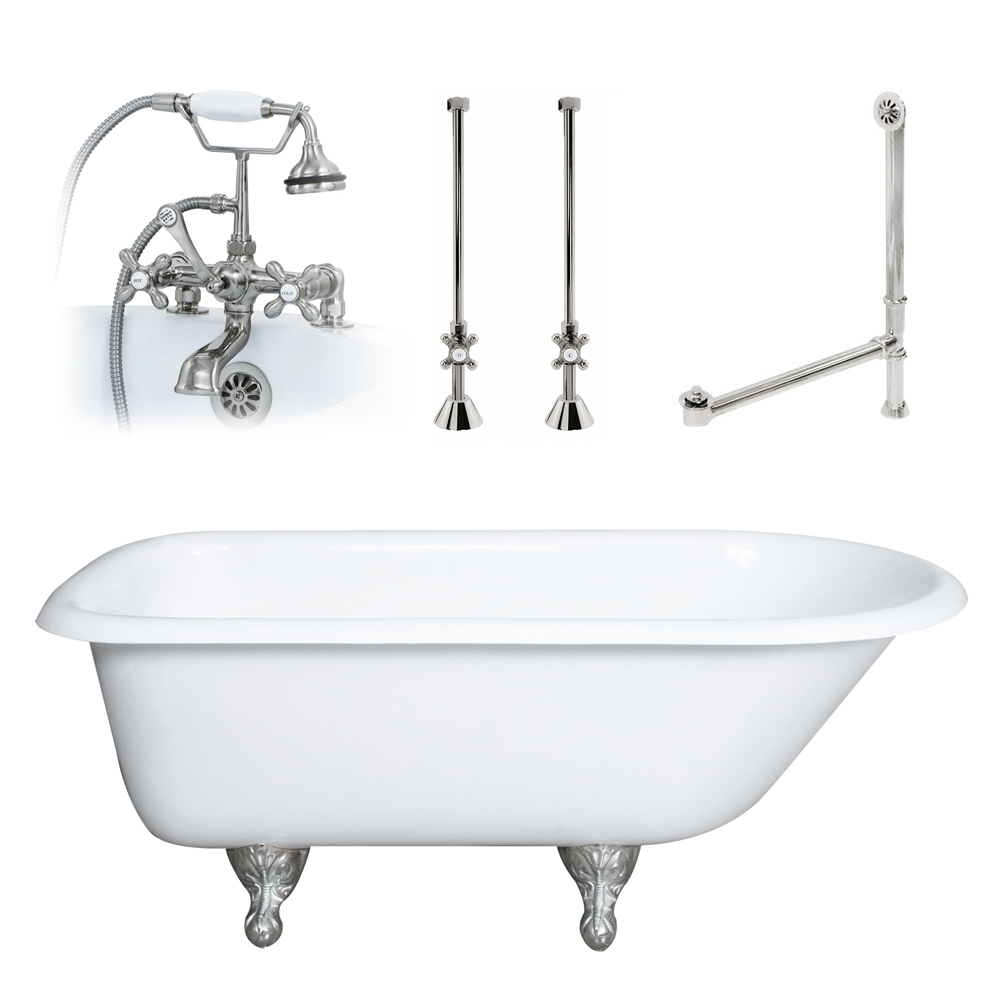 55 Cast Iron Rolled Rim Clawfoot Tub With Plumbing Package