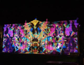 Senate House Cambridge, light show