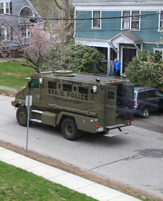 New Hampshire State Police bring a military-style vehicle to Watertown during a search for bombing suspects. (Photo: Sally Vargas)