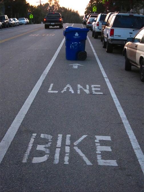bike lane with trash can blockage