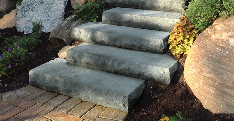 Steps Stairs Cambridge Pavingstones Outdoor Living Solutions | Outdoor Stone Stair Treads | Deck | Curved | Backyard | Unique | Stone Veneer