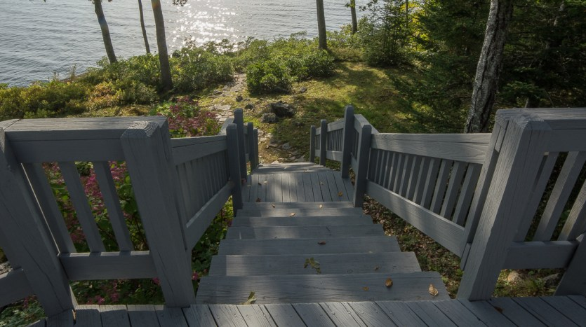 Stairs leading down from deck