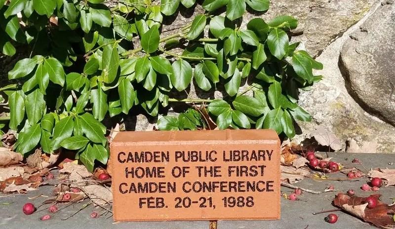 Camden Conference brick at Camden Public Library