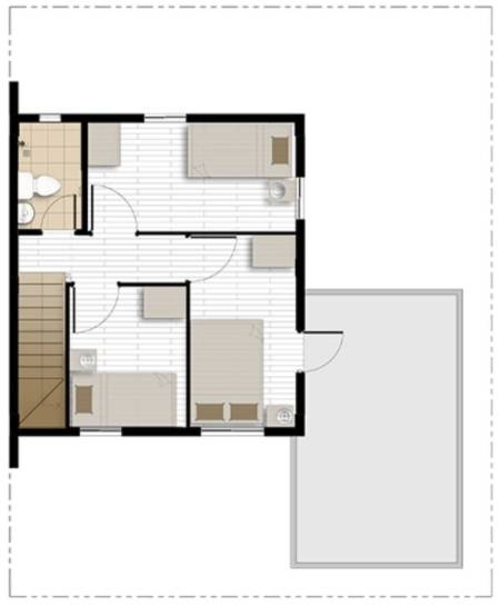 cara with balcony second floor plan