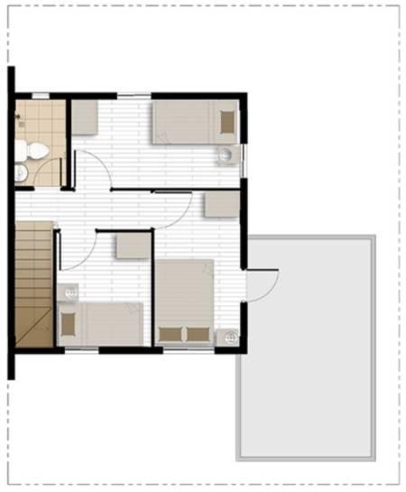 cara with balcony second floor plan