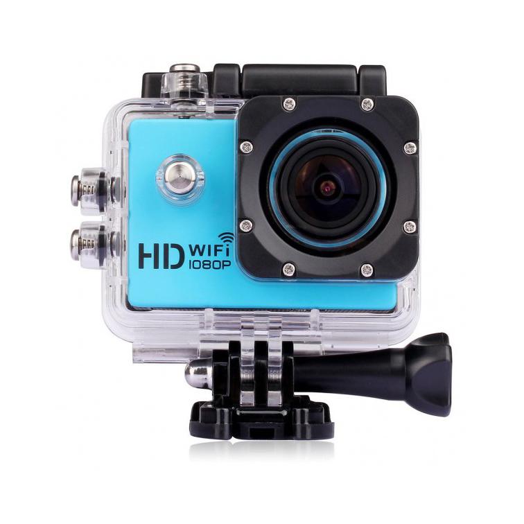 Caméra sport WiFi bleue avec caisson étanche