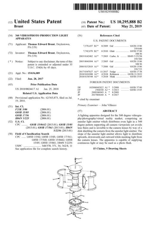 US Patent No. 10,295,888 issued May 21, 2019
