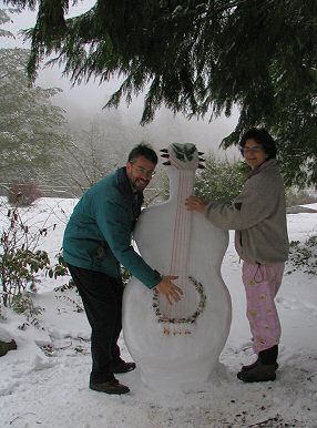 Brent and Karla play snow guitar, photograph copyright Lorelle VanFossen