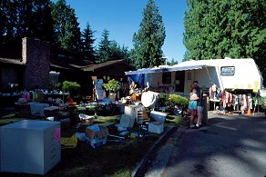 Garage sale outside of our trailer in my father's front yard in Marysville, 1996 - copyright Lorelle VanFossen
