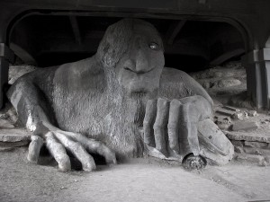 Seattle Troll under the Aurora Bridge photograph by Lorelle VAnFossen