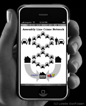 assembly line crime network infographic by lorelle vanfossen