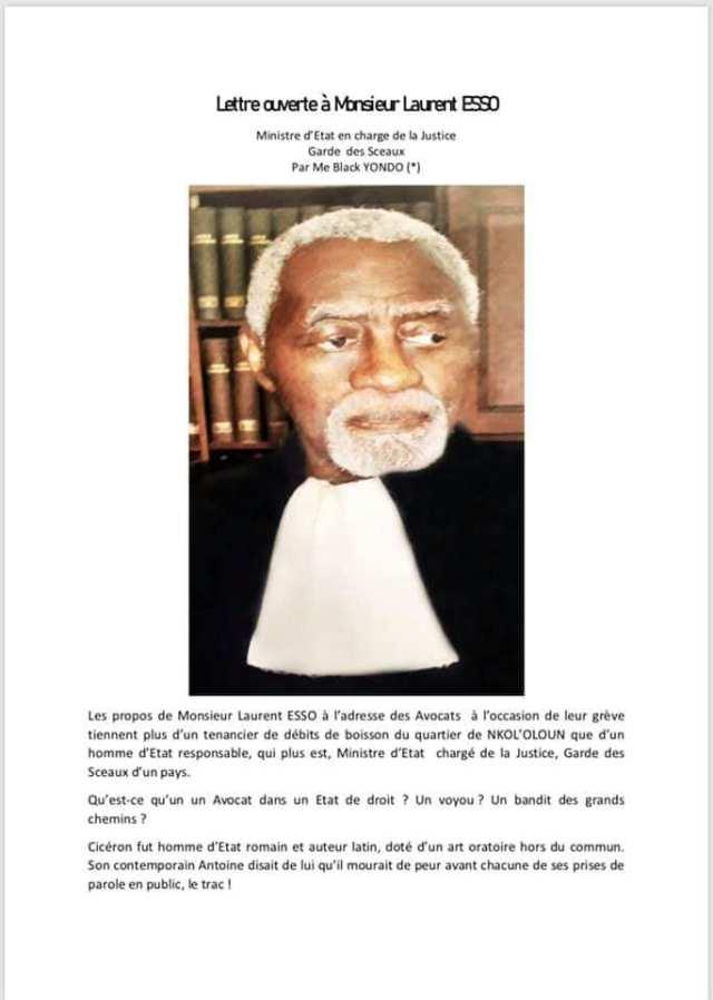 Lettre ouverte à Monsieur Laurent ESSO au Ministre d'Etat en charge de la Justice Garde des Sceaux