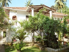 The villa in the tropical garden, French Lotus, Unawatuna, Sri Lanka.