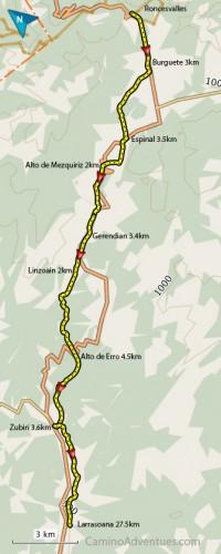Roncesvalles to Larrasoana map