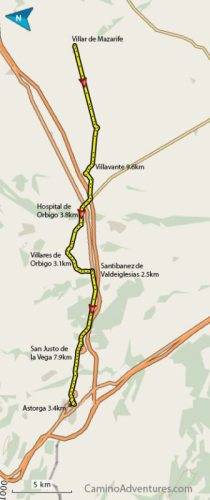 Villar de Mazarife to Astorga Map