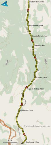 Rabanal del Camino to Ponferrada Map