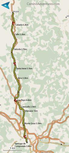 Arzua to Santiago de Compostela Map