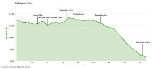Cebreiro to Triacastela Elevation Map