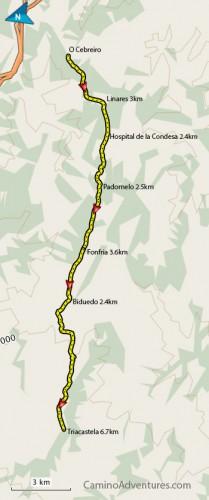 Cebreiro to Triacastela Map
