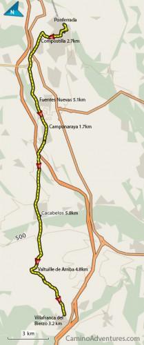 Ponferrada to Villafranca del Bierzo Map